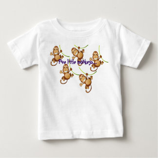 Weißer Säuglings-T - Shirt mit fünf kleinen Affen…