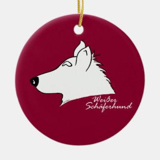 Weißer Schäferhund Kopf Silhouette Keramik Ornament