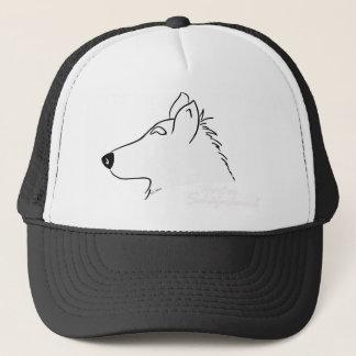 Weißer Schäferhund Kopf Silhouette Truckerkappe