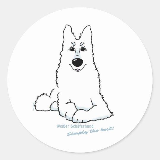Weißer Schäferhund liegend Runder Aufkleber