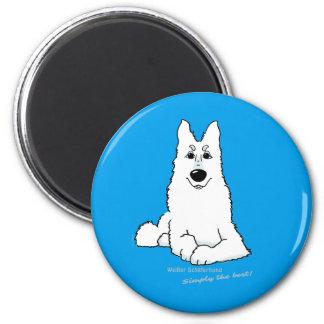 Weißer Schäferhund liegend Runder Magnet 5,7 Cm