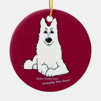 Weißer Schäferhund liegend Rundes Keramik Ornament
