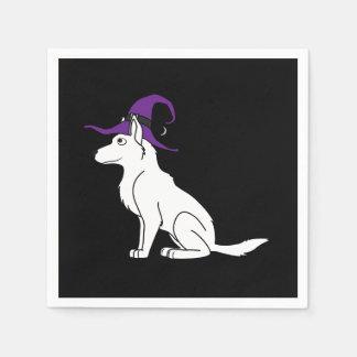 Weißer Schäferhund mit Hexe-Hut Servietten