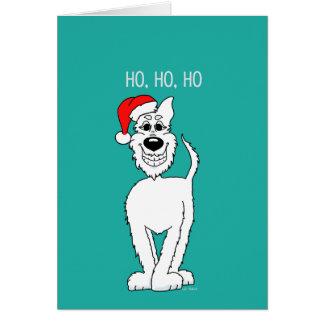 Weißer Schäferhund Santa Grußkarte