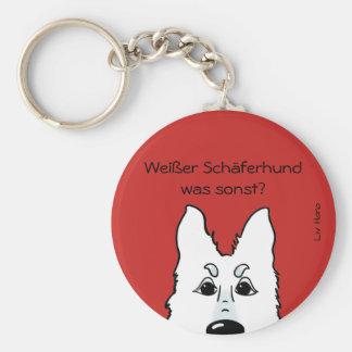 Weißer Schäferhund - was sonst? Standard Runder Schlüsselanhänger