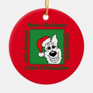 Weißer Schäferhund Weihnacht Keramik Ornament