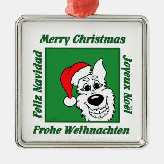 Weißer Schäferhund Weihnacht Silbernes Ornament