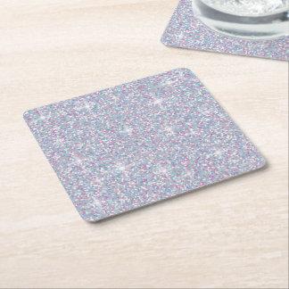 Weißer schillernder Glitter Rechteckiger Pappuntersetzer