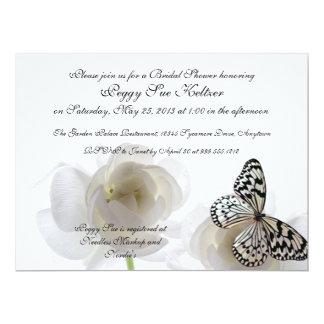 Weißer Schmetterlings-kundenspezifische 16,5 X 22,2 Cm Einladungskarte