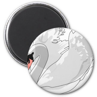 weißer Schwan Runder Magnet 5,7 Cm