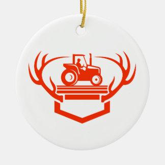 Weißer Schwanz-Rotwild-Geweih-Traktor Retro Keramik Ornament