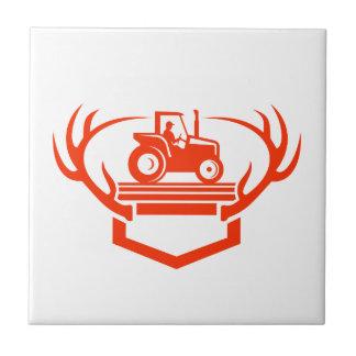Weißer Schwanz-Rotwild-Geweih-Traktor Retro Keramikfliese