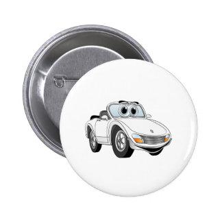Weißer Sport-Auto-Cartoon Buttons