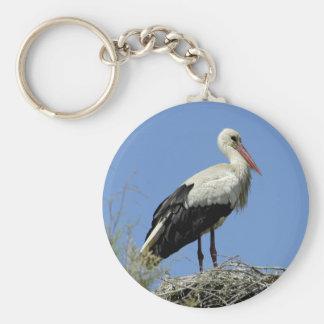 Weißer Storch auf seinem Nest Schlüsselanhänger