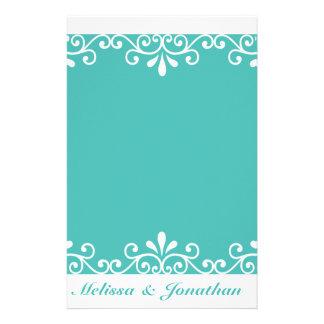 Weißer Strudel-Braut-Bräutigam-aquamarine elegante Briefpapier