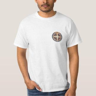 Weißer T - Shirt mit der Medaille von St. Benedict