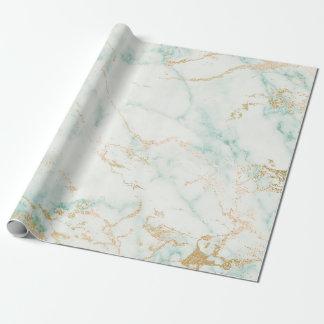 Weißer tadelloser grünes Goldzauber-Marmor Geschenkpapierrolle