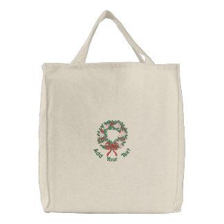 Weißer Tauben-Kranz Bestickte Einkaufstasche
