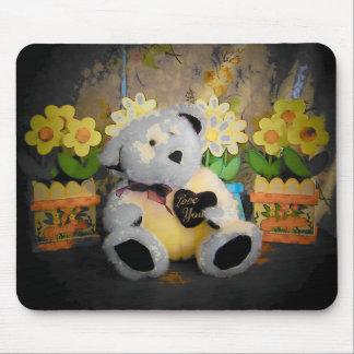 Weißer Teddy-Bär sagt Liebe Sie Mousepad