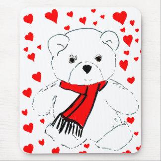 Weißer Teddybär mit roten Herzen Mousepad