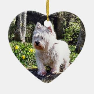 Weißer Terrier-Natur-Weg Keramik Ornament