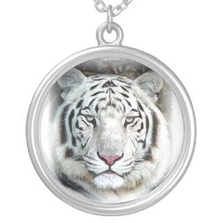 Weißer Tiger Halskette Mit Rundem Anhänger