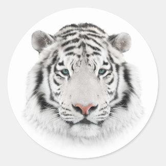 Weißer Tiger-Kopf-runde Aufkleber