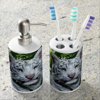 Weißer Tiger Seifenspender & Zahnbürstenhalter