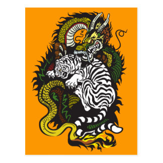 weißer Tiger und grüner Drache Postkarte