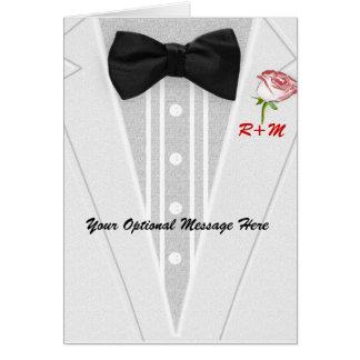 Weißer Tuxedo mit Bogen-Krawatten-Monogramm Karte