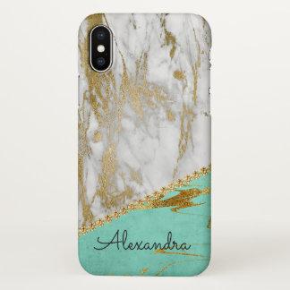 Weißer u. aquamariner GoldGlitzer-und iPhone X Hülle