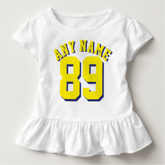 Weißer u. gelber Sport-Jersey-Entwurf des Kleinkind T-shirt