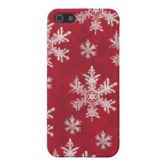 Weißer u. roter Schneeflocke-Entwurf iPhone 5 Etui