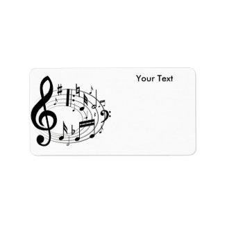 Weißer u. schwarzer Musik-Skala-Musiknoten Adressaufkleber