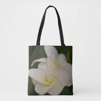 Weißer und gelber Plumeria Tasche