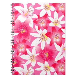 Weißer und rosa Hibiskus mit Blumen Notizblock
