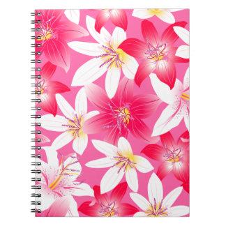 Weißer und rosa Hibiskus mit Blumen Spiral Notizblock