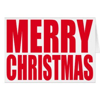 Weißer und roter großer Block-frohe Weihnachten Karte