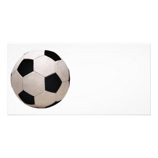 Weißer und schwarzer Fußball Photokartenvorlage