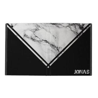 Weißer und schwarzer Marmor mit Streifen iPad Hülle