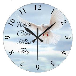 Weißer Vogel Große Wanduhr