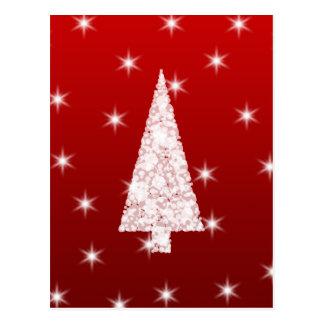 Weißer Weihnachtsbaum mit Sternen auf Rot Postkarte