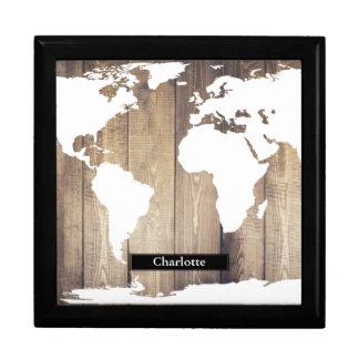 Weißer Weltkarten-rustikaler hölzerner Geschenkbox