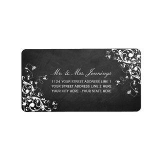 Weißer Wirbel auf Tafel-Hochzeits-Aufklebern Adressaufkleber