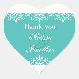 Weißer Wirbels-aquamarine elegante Hochzeit danken Herz-Aufkleber