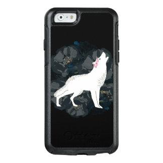 Weißer Wolf auf Kreis des schwarzen Rosen-Kastens OtterBox iPhone 6/6s Hülle