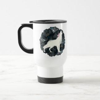 Weißer Wolf mit der schwarzen Rosen-Tasse Reisebecher