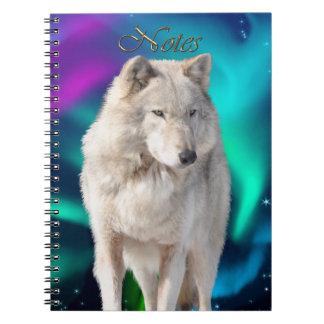 Weißer Wolf u. Aurora Tier-Anhänger Notizbuch Spiral Notizblock