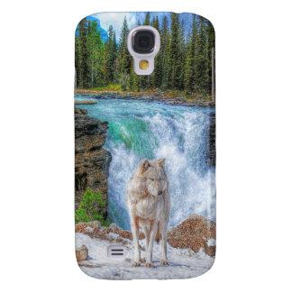 Weißer Wolf-u. felsiger Galaxy S4 Hülle