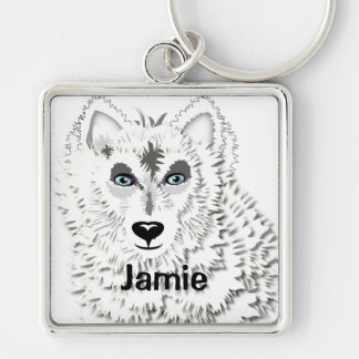 Weißer Wolf-wildes Tier-Illustration Schlüsselanhänger